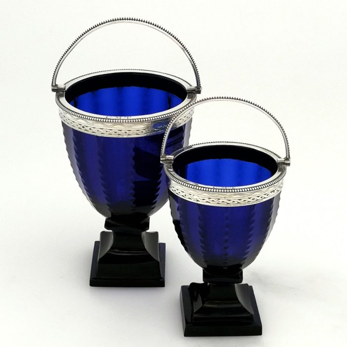 PAIR GEORGE III STERLING SILVER MOUNTED BRISTOL BLUE GLASS BASKETS CREAM & SUGAR c. 1785 GEORGIAN