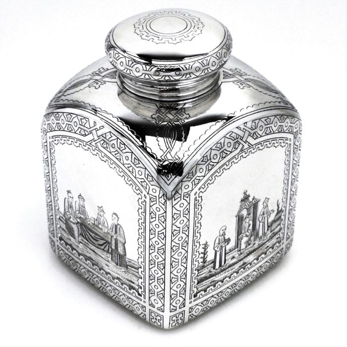 RARE RUSSIAN ANTIQUE SILVER TEA CANISTER / TEA CADDY 1879
