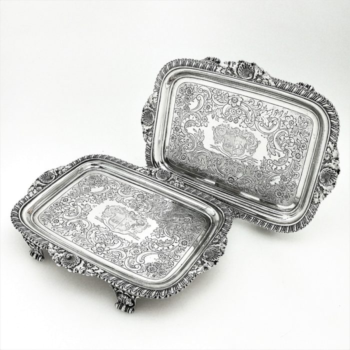 PAIR ANTIQUE GEORGE III STERLING SILVER SALVERS / TRAYS 1809