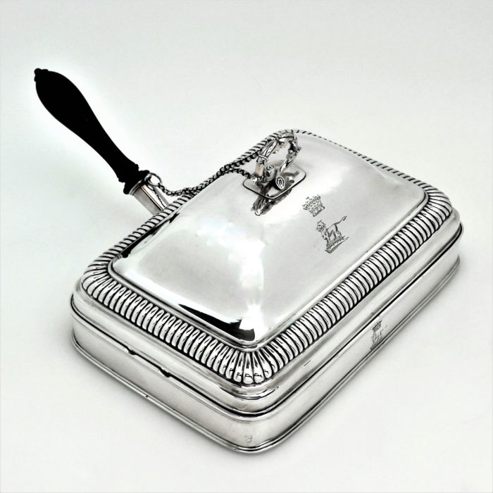 ANTIQUE GEORGE III STERLING SILVER CHEESE TOASTER PAN 1804 PAUL STORR