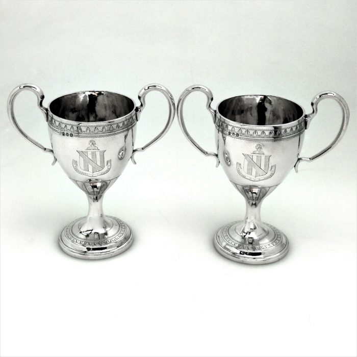 PAIR GEORGE III ANTIQUE IRISH STERLING SILVER TWO HANDLED CUPS GOBLETS 1806 DUBLIN