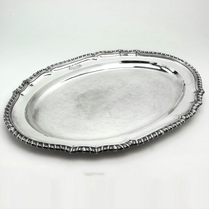 LARGE GEORGIAN STERLING SILVER OVAL MEAT DISH / SERVING PLATTER 1803