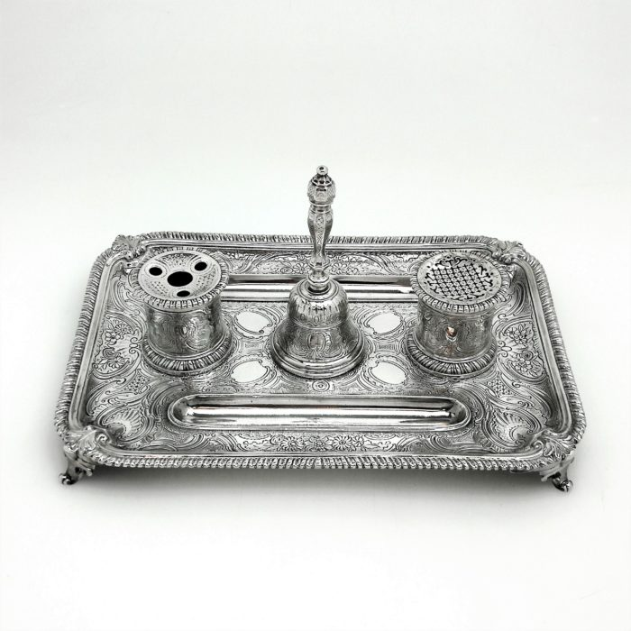 ANTIQUE GEORGE II STERLING SILVER INKSTAND / INK WELL 1749 GEORGIAN BELL