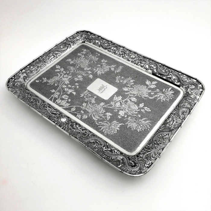 ANTIQUE CHINESE SOLID SILVER TRAY C. 1880 HUNG CHANG CHINA SILVER