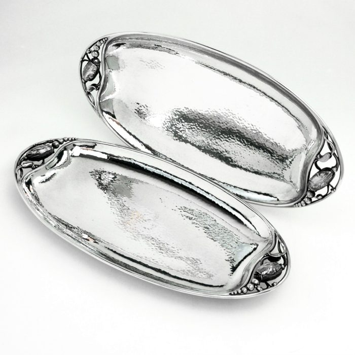PAIR GEORG JENSEN BLOSSOM STERLING SILVER PLATTER OVAL DISHES c. 1945 - 77