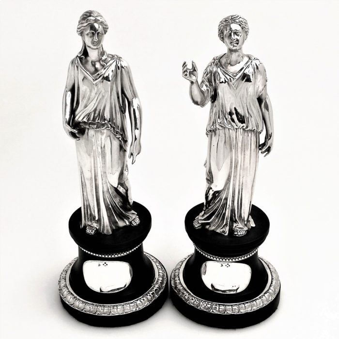PAIR ANTQUE VICTORIAN STERLING SILVER 'CLASSICAL' FIGURES / STATUES 1857