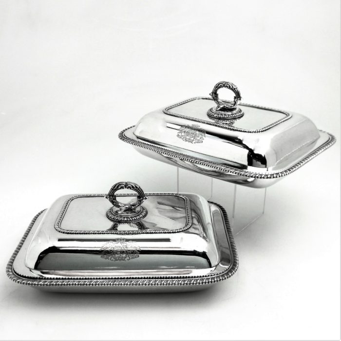 PAIR ANTIQUE GEORGIAN SILVER ENTREE DISHES 1803 SERVING DISHES GEORGE III