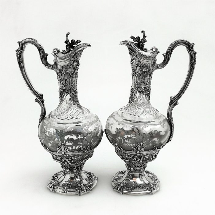 PAIR ANTIQUE FRENCH SILVER MOUNTED GLASS CLARET JUGS / WINE DECANTERS  c. 1880 PUIFORCAT