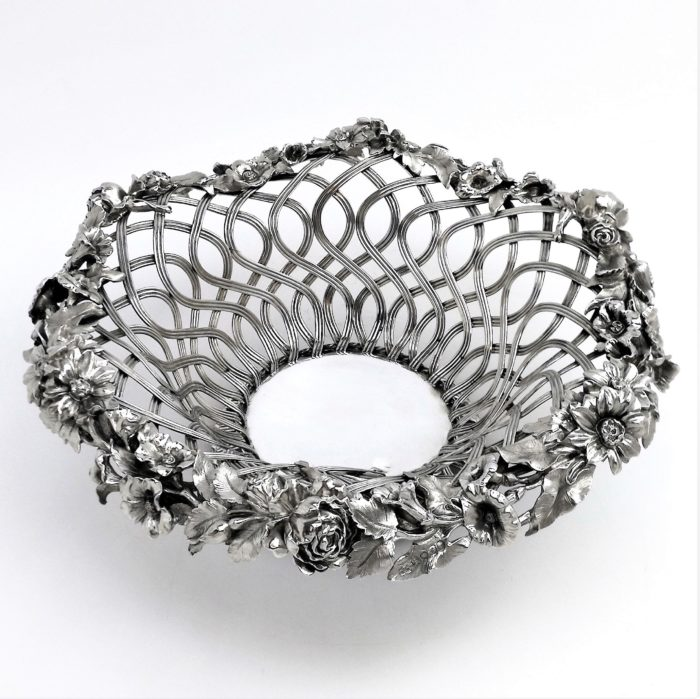 ANTIQUE VICTORIAN STERLING SILVER BASKET 1843 BOWL / DISH