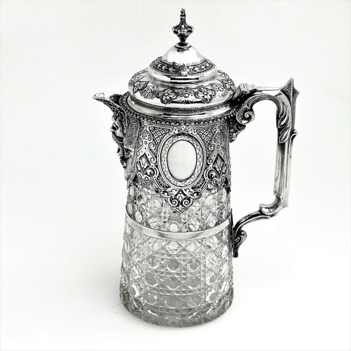 ANTIQUE VICTORIAN SILVER MOUNTED & CUT GLASS CLARET JUG / WINE DECANTER 1882