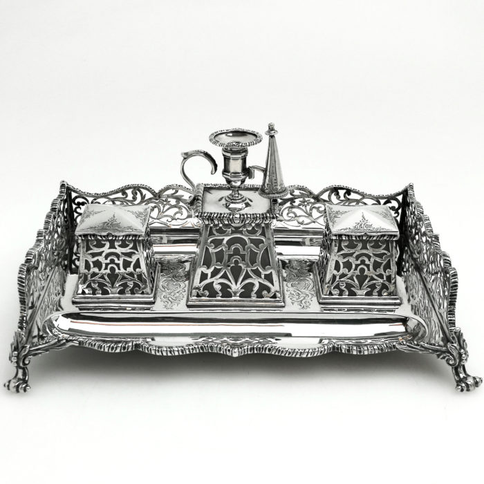 ANTIQUE WILLIAM IV STERLING SILVER INKSTAND / INK WELL / DESK STAND / STANDISH LONDON 1853
