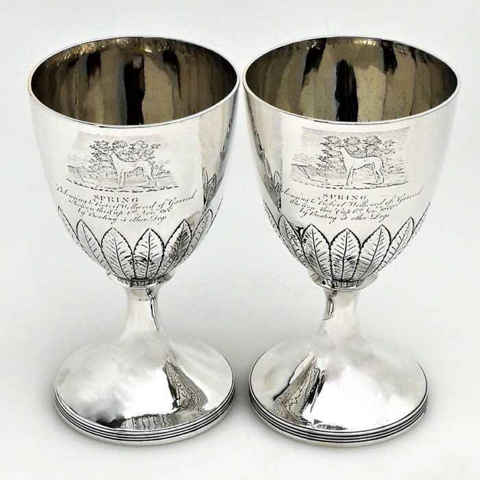 PAIR ANTIQUE SCOTTISH GEORGIAN STERLING SILVER GOBLETS / WINE GLASSES 1779 GEORGE III DOG GREYHOUND