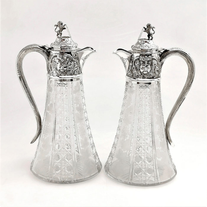 PAIR ANTIQUE VICTORIAN SILVER WINE CLARET JUGS DECANTERS 1887